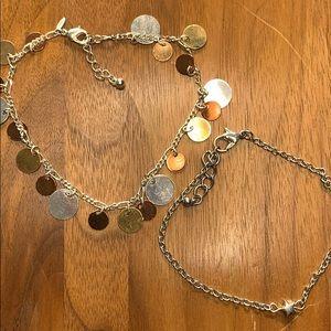 2 Anklet Bracelets - Avon Silver Plate, Star